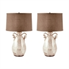 Twisted Handle Terra Cotta Table Lamps In Cream - Set of 2