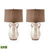 Twisted Handle Terra Cotta LED Table Lamps In Cream - Set of 2