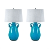 Twisted Handle Terra Cotta Table Lamps In Aqua - Set of 2