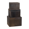 Lazy Susan Nested Chestnut Faux Pony Boxes- Set Of 3