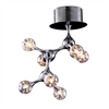 Molecular 7 Light Flushmount In Chrome And Iridescent Glass