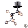 Molecular 7 Light Flushmount In Chrome And Iridescent Glass - Includes Recessed Lighting Kit