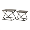 Moya Aged Iron Set of 2 Metal and Concrete Accent Tables