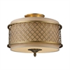 ELK lighting Chester 3 Light Semi Flush In Brushed Antique Brass