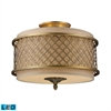ELK lighting Chester 3 Light LED Semi Flush In Brushed Antique Brass