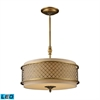 Chester 4 Light LED Pendant In Brushed Antique Brass