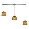 Viva 3 Light Pendant In Polished Chrome And Amber Glass