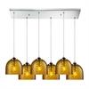 ELK lighting Viva 6 Light Pendant In Polished Chrome And Amber Glass