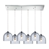 ELK lighting Viva 6 Light Pendant In Polished Chrome And Clear Glass