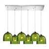 ELK lighting Viva 6 Light Pendant In Polished Chrome And Green Glass
