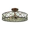 Armand 8 Light Semi Flush In Weathered Bronze With Champagne Plated Crystal