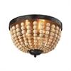 ELK lighting Helene 3 Light Flushmount In Oil Rubbed Bronze And Natural Wood