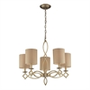 ELK lighting Estonia 5 Light Chandelier In Aged Silver With Shades