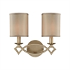 Estonia 2 Light Vanity In Aged Silver With Beige Half-Shades