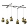 Formations 6 Light Pendant In Satin Nickel And Planetary Glass