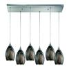 Formations 6 Light Pendant In Satin Nickel And Ashflow Glass