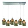 Vines 6 Light Pendant In Satin Nickel