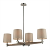 ELK lighting Jorgenson 4 Light Chandelier In Polished Nickel And Taupe Wood