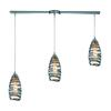 ELK lighting Twister 3 Light Pendant In Polished Chrome And Vine Wrap Glass
