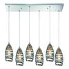 ELK lighting Twister 6 Light Pendant In Polished Chrome And Vine Wrap Glass