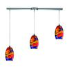 ELK lighting Surrealist 3 Light Pendant In Polished Chrome And Multicolor Glass