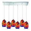Surrealist 6 Light Pendant In Polished Chrome And Multicolor Glass