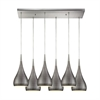 Lindsey 6 Light Rectangle Fixture In Satin Nickel With Weathered Zinc Shade
