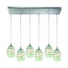 Vines 6 Light Pendant In Satin Nickel And Mint Glass