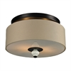 ELK lighting Lilliana 2 Light Semi Flush In Aged Bronze And Cream Ceramic