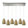 Crackle 6 Light Pendant In Satin Nickel