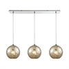 Watersphere 3 Light Linear Pan Fixture In Polished Chrome With Mercury Hammered Glass