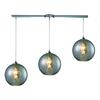 ELK lighting Watersphere 3 Light Pendant In Polished Chrome And Smoke Glass