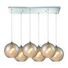 ELK lighting Watersphere 6 Light Pendant In Polished Chrome And Champagne Glass