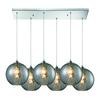 ELK lighting Watersphere 6 Light Pendant In Polished Chrome And Smoke Glass