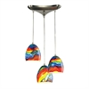 Colorwave 3 Light Pendant In Satin Nickel And Rainbow Streak Glass