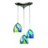 Colorwave 3 Light Pendant In Satin Nickel And Tropics Glass