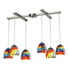 ELK lighting Colorwave 6 Light Pendant In Satin Nickel And Rainbow Streak Glass