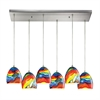 Colorwave 6 Light Pendant In Satin Nickel And Rainbow Streak Glass