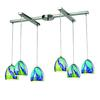 Colorwave 6 Light Pendant In Satin Nickel And Tropics Glass
