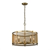 Rialto 5 Light Pendant In Aged Brass