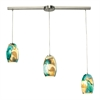 ELK lighting Surreal 3 Light Pendant In Satin Nickel With Cream And Green Glass