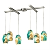 ELK lighting Surreal 6 Light Pendant In Satin Nickel With Cream And Green Glass