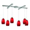 ELK lighting Tidewaters 6 Light Pendant In Satin Nickel And Ruby Glass