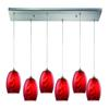 Tidewaters 6 Light Pendant In Satin Nickel And Ruby Glass