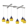 Dunes 6 Light Pendant In Satin Nickel And Sunscape Glass