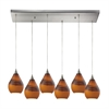 Dunes 6 Light Pendant In Satin Nickel And Shadow Glass