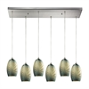 Tidewaters 6 Light Pendant In Satin Nickel And Seafoam Glass