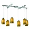 ELK lighting Tidewaters 6 Light Pendant In Satin Nickel And Amber Glass