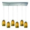 Tidewaters 6 Light Pendant In Satin Nickel And Amber Glass