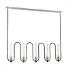 Continuum 5 Light Chandelier In Silvered Graphite With Polished Nickel Accents
